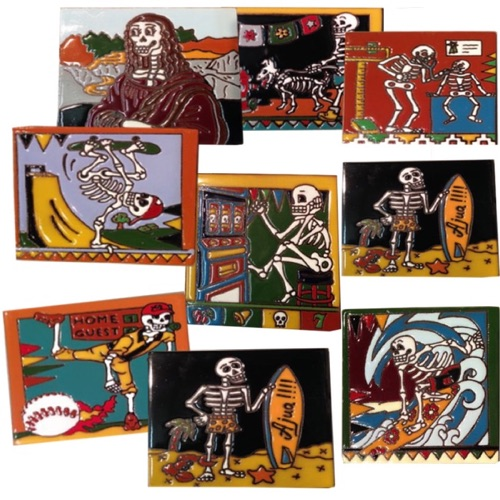 CM78|Clay tile day of dead assorted designs |$5 | 6″x 6″